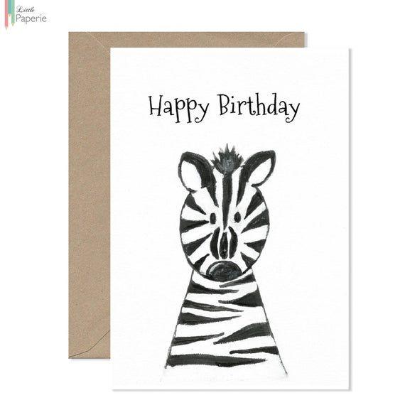 Happy Birthday Zebra Greeting Card Birthday Card Zebra