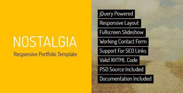 Nostalgia - Responsive Minimal Portfolio Template Site Templates / Creative / Portfolio by QuanticaLabs