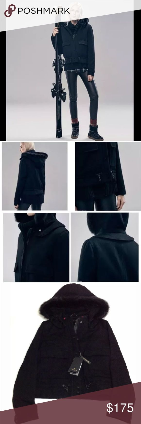 Massimo Dutti Women's Black Bomber Jacket Size L $445 Massimo Dutti Special Edition Black Wool Bomber Jacket Women's Size L.  85% Wool, 15% Polyamide.  Straight cut with hoodie, Tuscan fur trim, front concealed zipper, and press style closure.  Two slit pockets with fold-over flap, buttoned cuffs, made in Portugal.  21 inches chest flat across, 22.5 inches shoulder highest point to hem (approx). NWT. Massimo Dutti Jackets & Coats