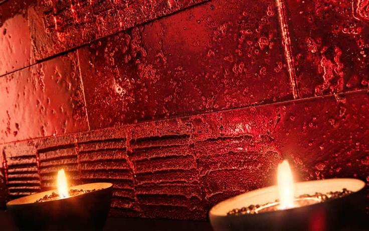 Mosaicos de mármol travertino rojo metalizado únicos