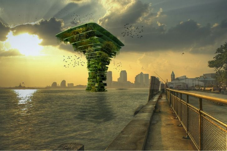 Blog Medioambiente.org : El árbol del mar. Consiste en una estructura flotante dividida en varios pisos y que funciona como hábitat artificial para la flora y la fauna.