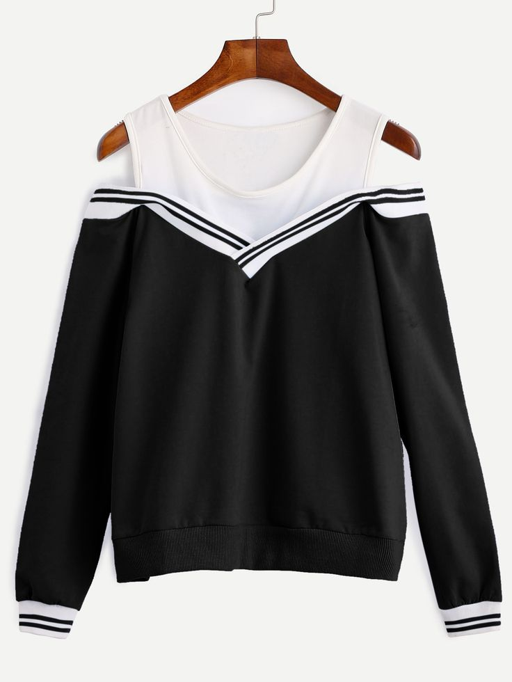 Varsity Striped Contrast Open Shoulder Sweatshirt — 0.00 € ------color: Black and White size: one-size