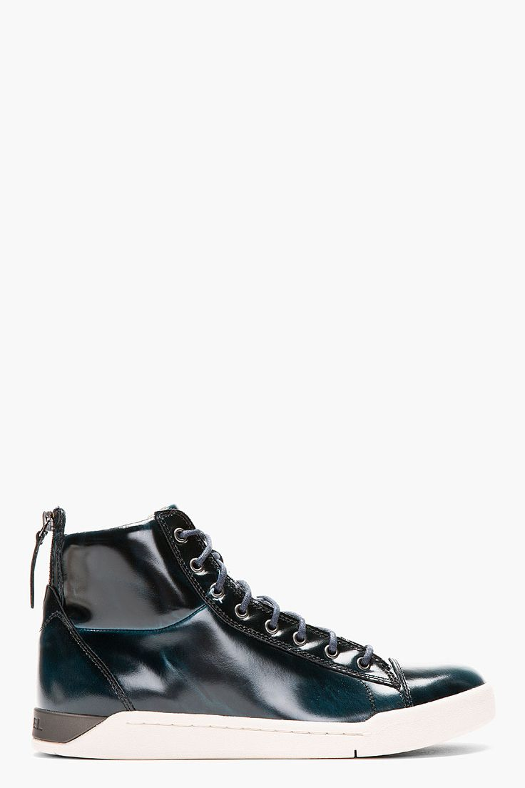 DIESEL Deep green patent brushed Diamond high-tops