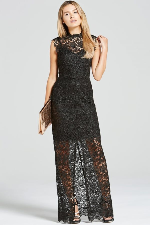 Paper Dolls Black Crochet Split Front Maxi Dress