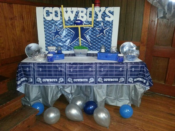 Dallas Cowboys Wrapping Paper | Dallas Cowboys birthday party candy/cake table - goal post made from ...