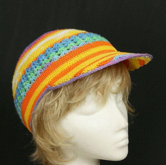 Femme arc-en-ciel au Crochet chapeau été cap soleil par natatusy