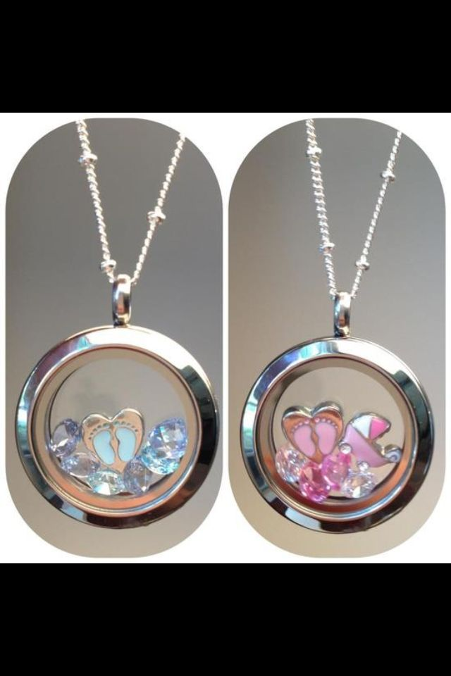 7 best baby origami owl locket images on pinterest origami owl origami owl silver gender reveal lockets with footprint charms and crystals in blue or pink negle Choice Image
