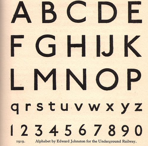 Edward Johnston's typeface or alphabet for London Underground - 1916/19 by mikeyashworth, via Flickr