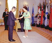 Elizabeth II, Queen of Canada and Sovereign of the Order of Canada, invests Jules Léger as a Companion of the order at Rideau Hall, August 1973  Order of Canada - Wikipedia, the free encyclopedia
