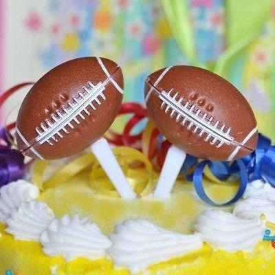 8 Football Cupcake Picks Cake Topper NFL Superbowl Party Food Appetizer Picks