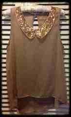 blusa, dorado, vintage, gasa, moda