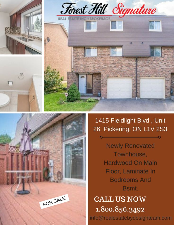 Newly Renovated Townhouse, Hardwood On Main Floor, Laminate In Bedrooms And Bsmt. Updated Kitchen With Granite Countertop And Brand New Stainless Steel Appliances. Updated Washrooms. Gas Fire Place In Living Room Large Deck Overlooking Park For Your Own Private Bbq Parties, Great Location. Close To Pickering Mall, Town Centre, Schools, Transportation, Go Train.call @Real Estate By Design Team .call now 1.800.856.3492