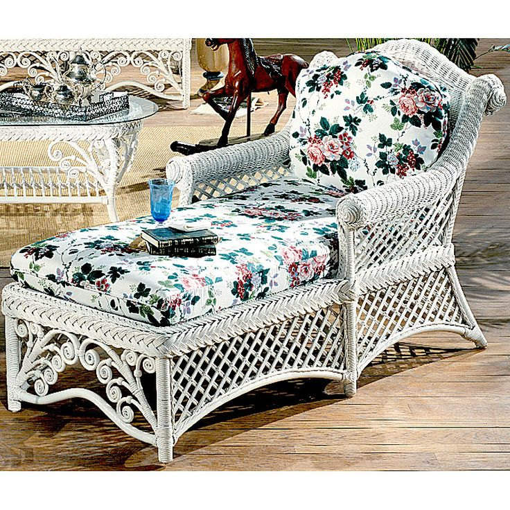 wicker frame chaise lounge w cushions id