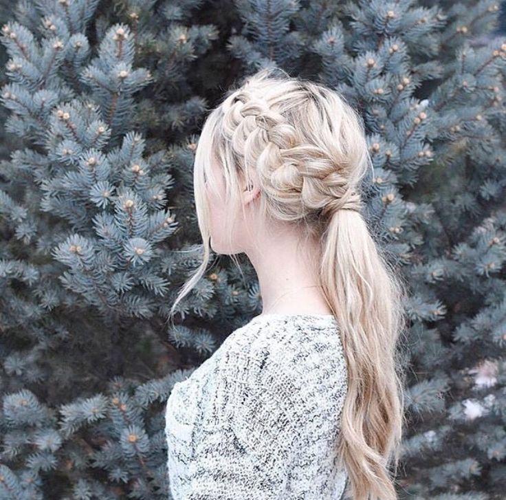 Dutch Braid Into A Low Ponytail Hair Styles Elegant