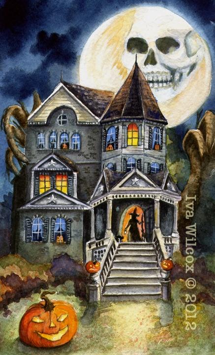 EHAG Halloween Haunted Witch Mansion Watercolor PRINT Painting PFATT