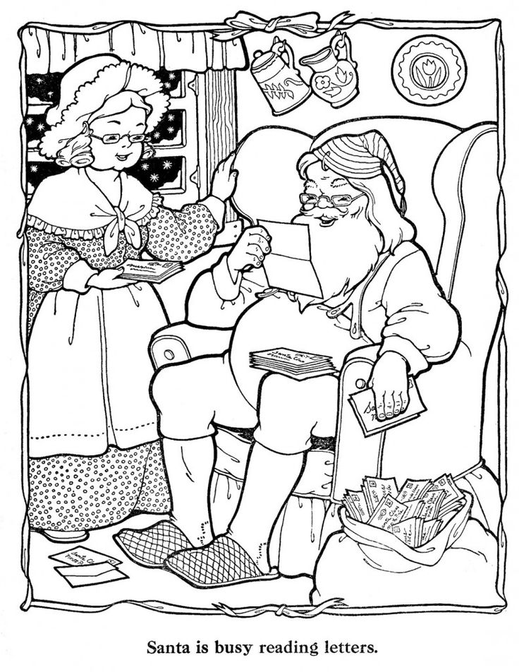 Countdown to Christmas - 9 Days | Santa coloring pages ...
