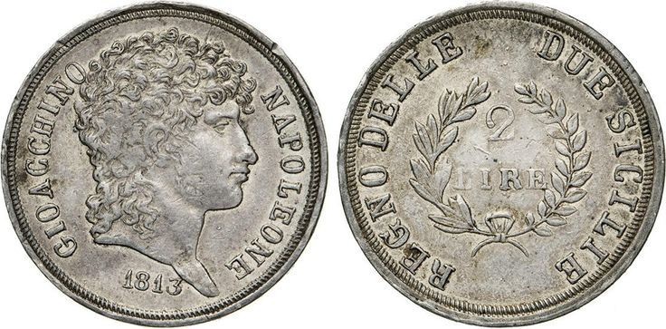 NumisBids: Numismatica Varesi s.a.s. Auction 65, Lot 501 : NAPOLI - GIOACCHINO NAPOLEONE MURAT (1808-1815) 2 Lire 1813. ...