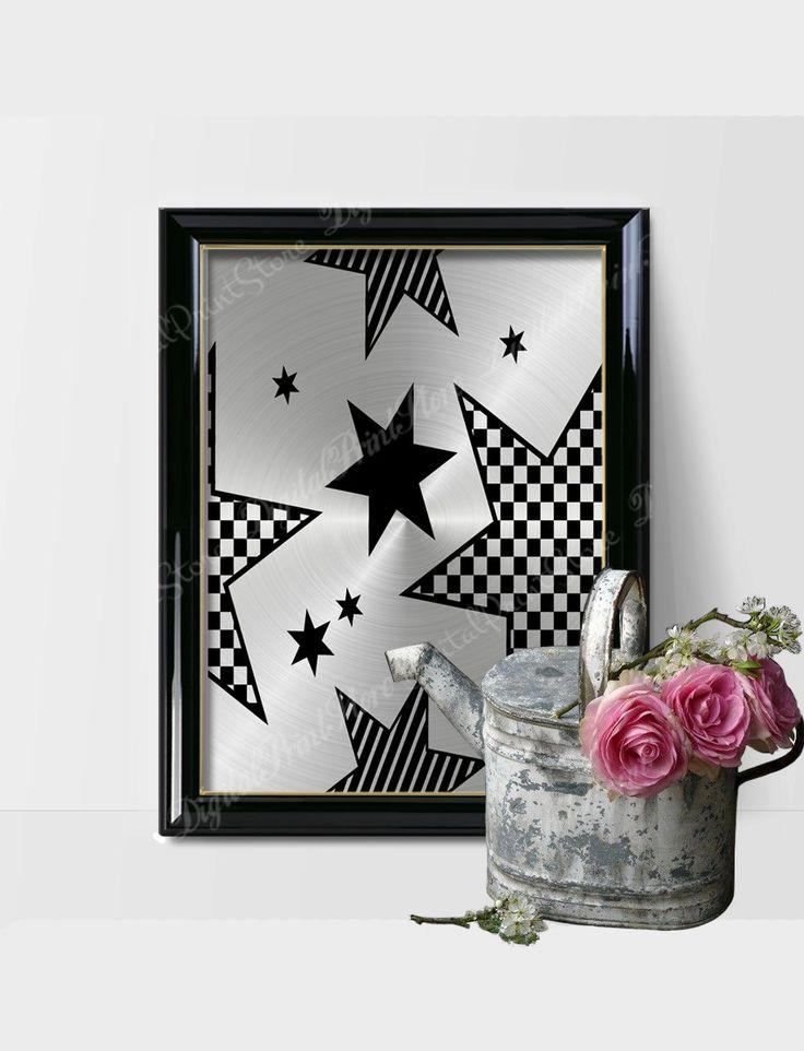 Modern Silver Star Wall Print Art 05, Scandinavian Decor, Abstract Print by DigitalPrintStore on Etsy