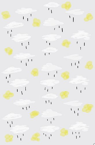 Pattern | White Clouds | Yellow Sun | Rain Drops