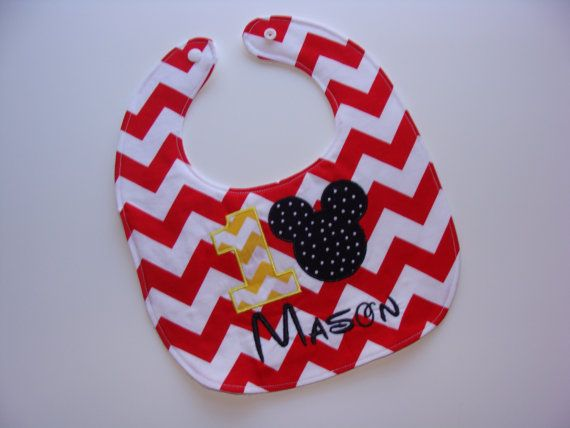 Personalized Mickey Mouse birthday baby bib for first birthday baby boy in red chevron - party theme on Etsy, $15.00