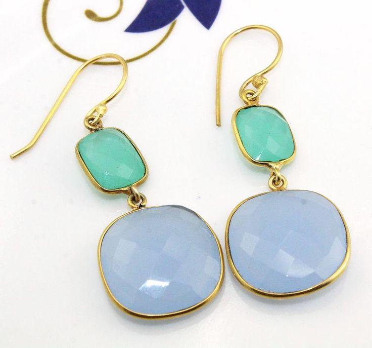 H2282 Halloween Sale !! Aqua & Blue Chalcedony 24k Gold Plated Earring Jewelry #Handmade #DropDangle