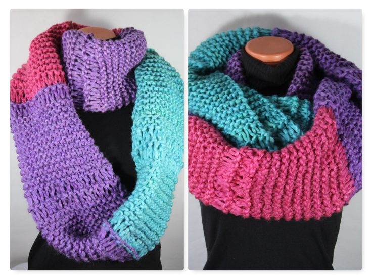 Knit scarf infinity chunky winter scarves for women knitted scarf colorful overs…
