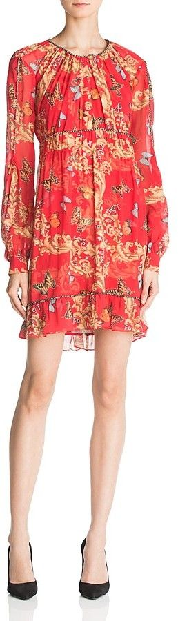 The Kooples Ruched Leaf & Butterfly-Print Silk Dress