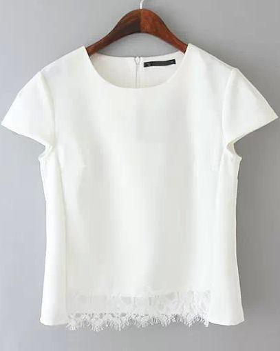 White Short Sleeve Lace Crop Blouse