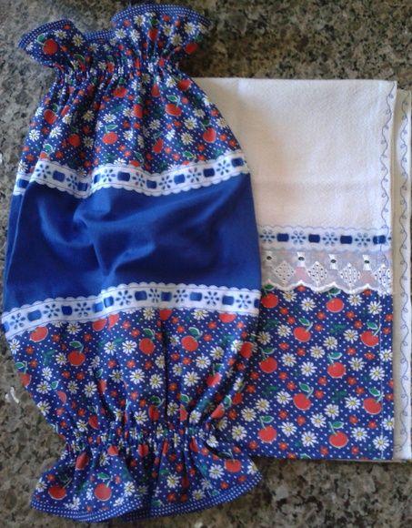 Lindo kit para decorar sua cozinha. Pano de prato: confeccionado em sacaria com barrado em tecido de algodão, bordado inglês, passa fita e fita de cetim combinando, com bordado nas laterais. Medida: 63 x 43 cm  Puxa-Saco: feito em tecido 100% algodão. Medida: 45 x 60 cm R$ 25,00