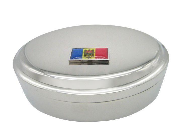 Thin Bordered Moldova Flag Pendant Oval Trinket Jewelry Box