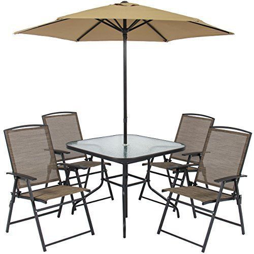 Outdoor Patio Furniture Dinning Set 6 Piece Square Table Chairs Chair Umbrella   #OutdoorDinningSet