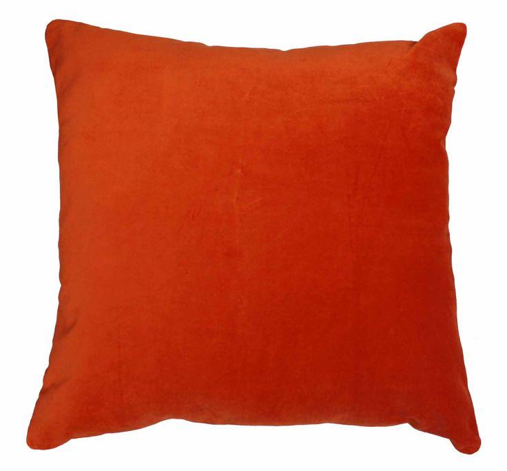 Majestic Velvet/Linen Tangerine Cushion $59.95