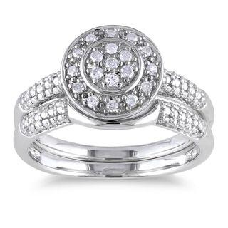 Miadora Sterling Silver 1/6ct TDW Diamond Bridal Halo Ring Set (H-I, I2-I3)