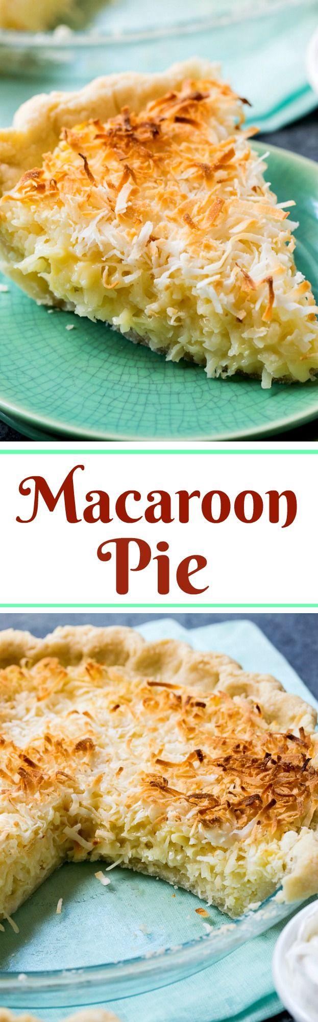 Coconut Macaroon Pie is a coconut lover's dream! Tastes like lots of macaroon cookies in a pie crust.