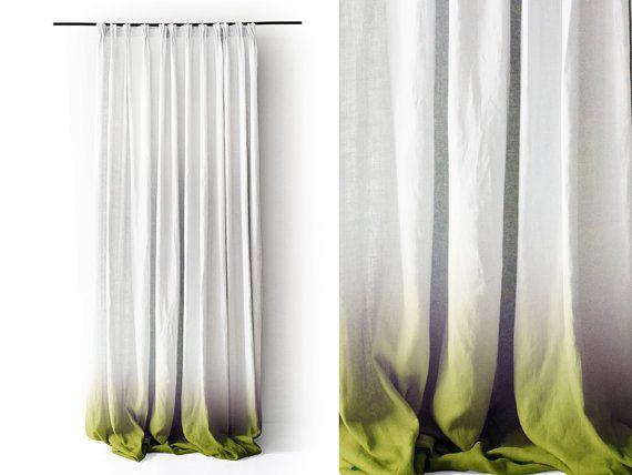 Ombre weiß Leinen Vorhang Paneele. Green fade in weiß. Prise Falte Nummer 3 durch schöne Idee.