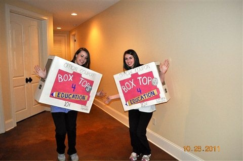 Box Tops for Education signs. I would carry this up & down the car riders line, as a reminder to save theirs.