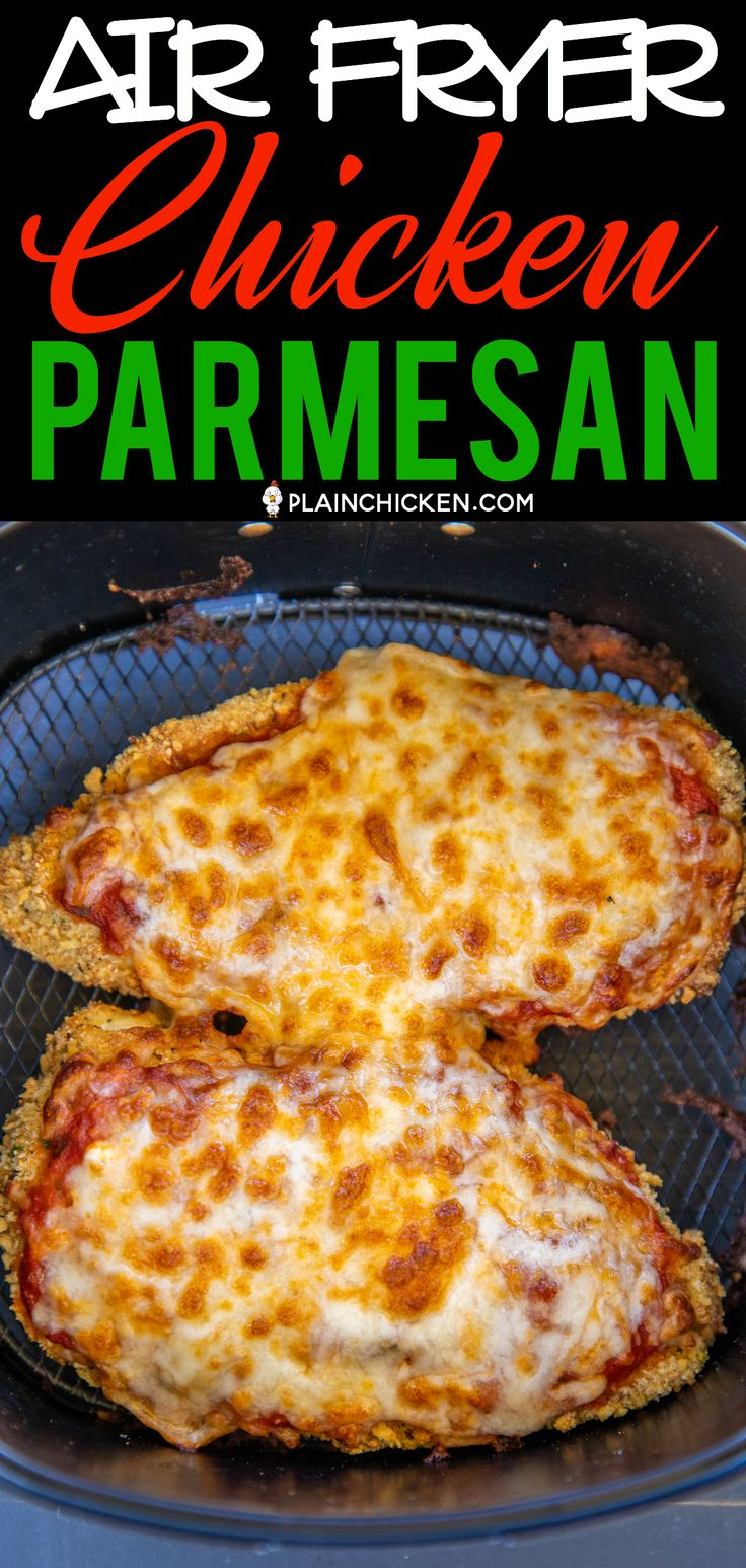 Air Fryer Chicken Parmesan – all the flavor and none of the fat! I am OBSESSED w…