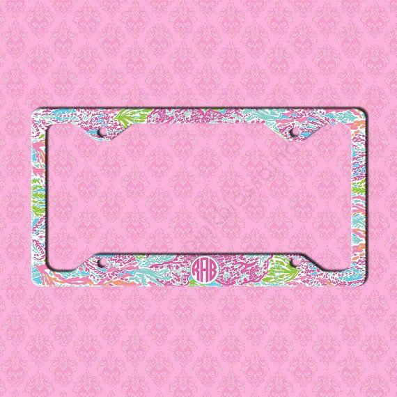 Custom License Plate Frame Monogram Lilly