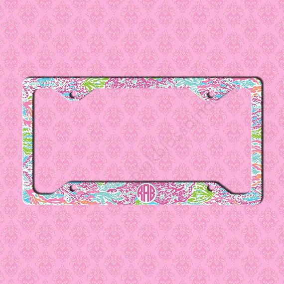custom license plate frame monogram lilly pulitzer inspired car tag frame license plate car tag monogram license plate frame