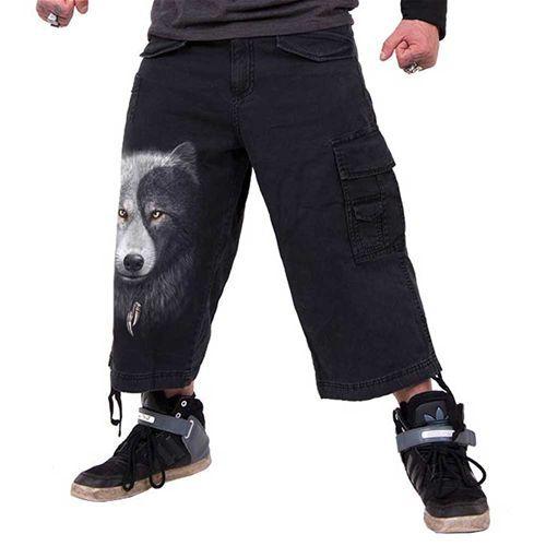 Wolf Chi, gothic fantasy metal wolven yin yang cargo driekwart broek zwart - L - Spiral