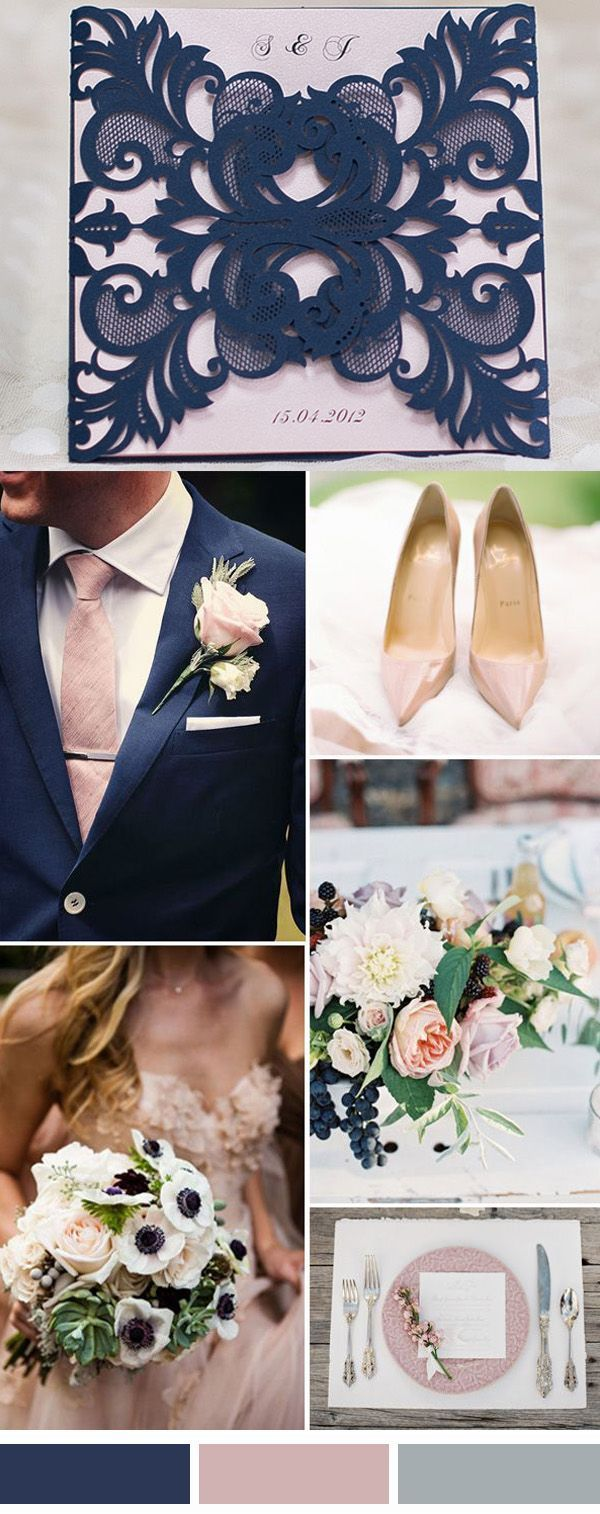 Mariage en bleu marine et rose pastel