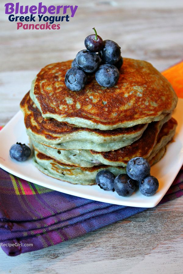 Blueberry Greek Yogurt Pancakes - a quick and easy, healthy pancake choice for breakfast. Weight Watchers points and nutritional information included - recipe from RecipeGirl.com