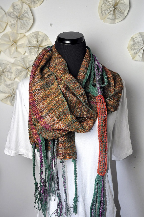 Handwoven scarf in shades of green marron oranges and by amberkane, $75.00
