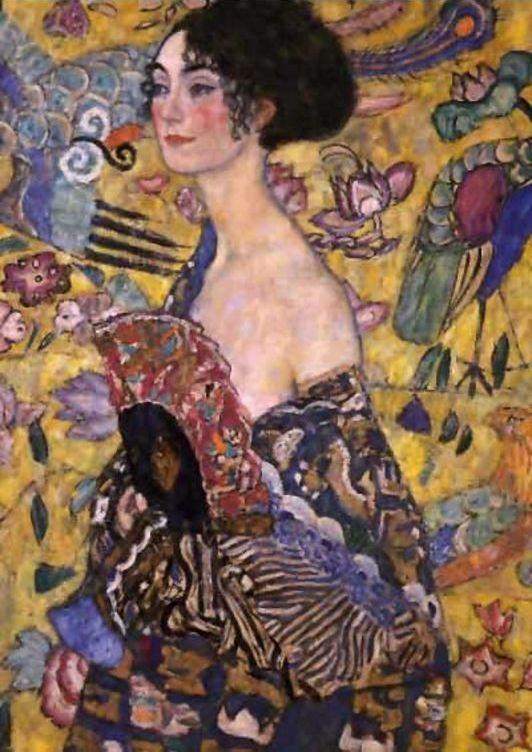 """peinture autrichienne : Gustav Klimt, """"femme à l'éventail"""", 1917, portrait"""