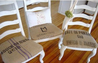 dining chair in burlap fabric