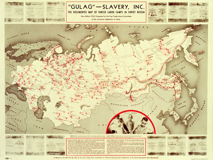 Map of Stalin's GULAG - Forced Labor Camps in Soviet Russia, 1951 #map #soviet #russia #coldwar