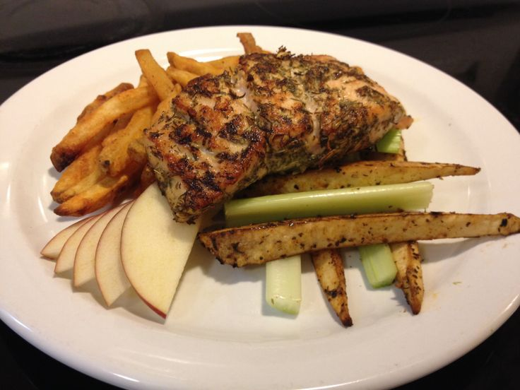 Pan Seared Herb Atlantic Salmon, McCain Spicy Xtracrispy SuperFries, Roasted Balsamic Basil Parsnip, Celery & Red Delicious Apple