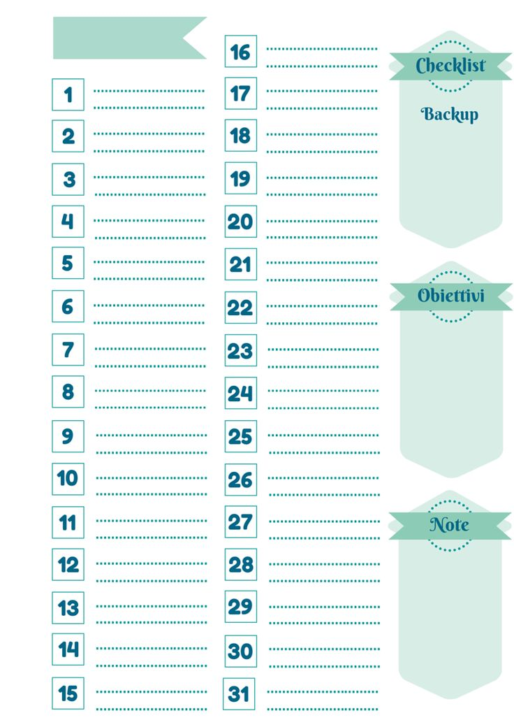 planning mensile per il blog