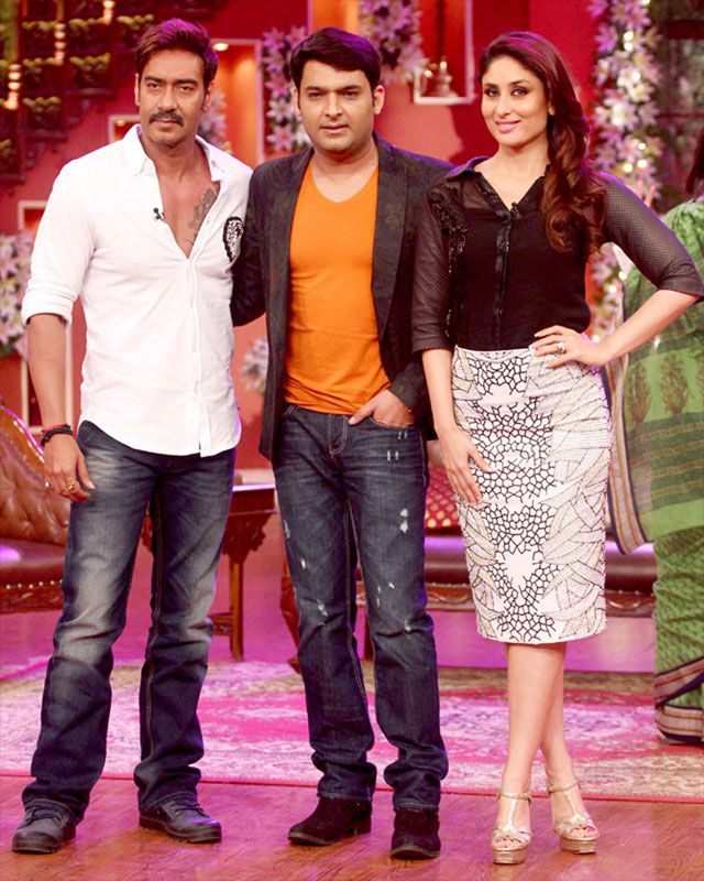 Filmmaker Rohit Shetty was strangely missing out on the fun with Kareena, Ajay and Kapil. The film is set to hit the screens on August 15.