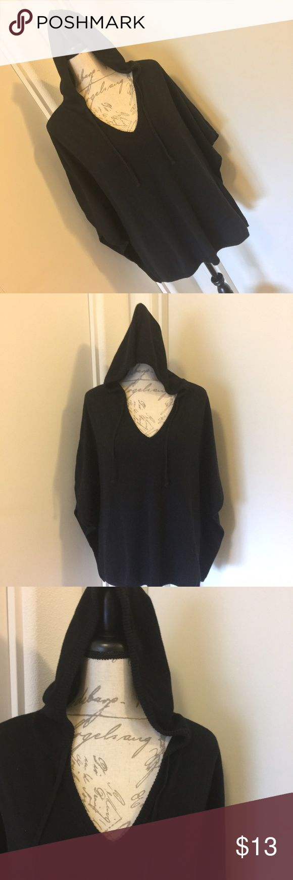 Old Navy Black Poncho with Faux Drawstrings Old Navy Black Poncho with Faux Drawstrings, and a hood. Size is M/L. Minimal fading and pilling from washing. Small hole under one arm, can be repaired. GUC. Make me an offer! Old Navy Tops Sweatshirts & Hoodies
